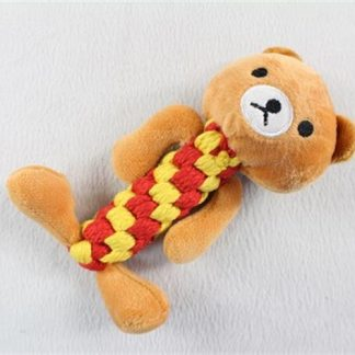 בובה פרוותית  דובי עשויה חבל רך מתאימה לגורים וכלבים קטנים
