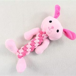בובה פרוותית ארנב עשויה חבל רך מתאימה לגורים וכלבים קטנים