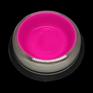 פטקס -קערת נירוסטה עם גומיות בתחתית בצבע ורוד זוהר